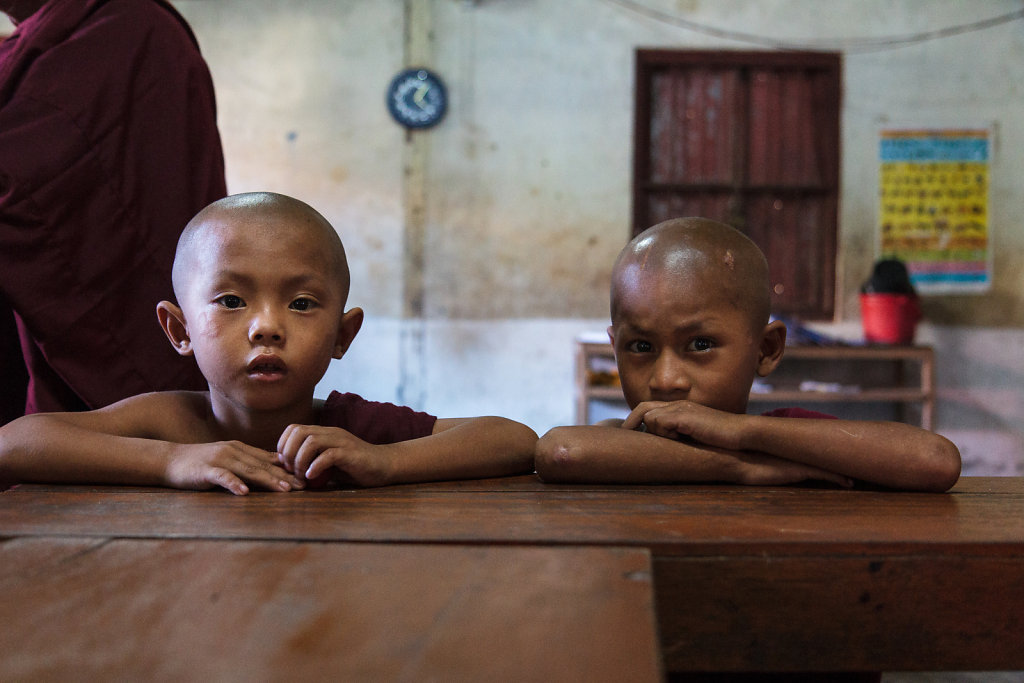 2 young novice monks at school