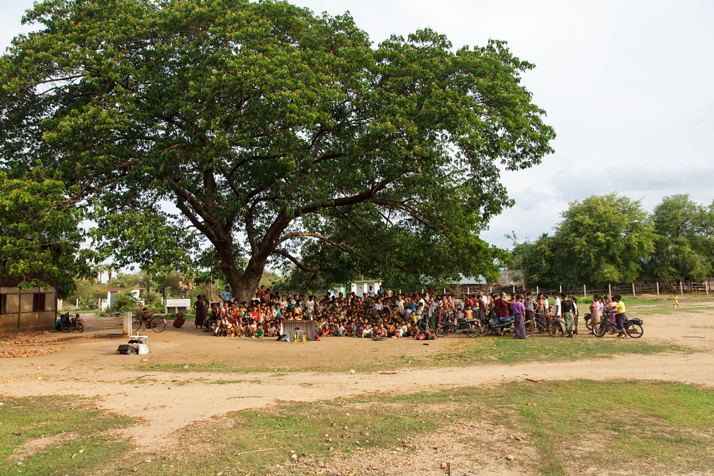 Waiting for the show under the big tree